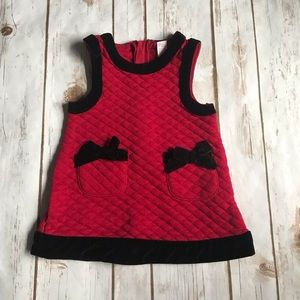 Other - Baby Red and Black Quilted Holiday Dress
